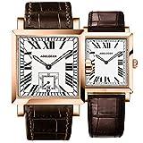 Agelocer - Juego de 2 relojes románticos para parejas de negocios para hombre y mujer, automático, mecánica, fecha luminosa, impermeable, cuarzo, regalo de amor, 3302D2-3402D2.