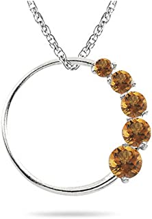 The circle journey pendant is a promise of eternal love and togetherness. Pretty pendant has AA quality Citrine gemstones. Chain included.