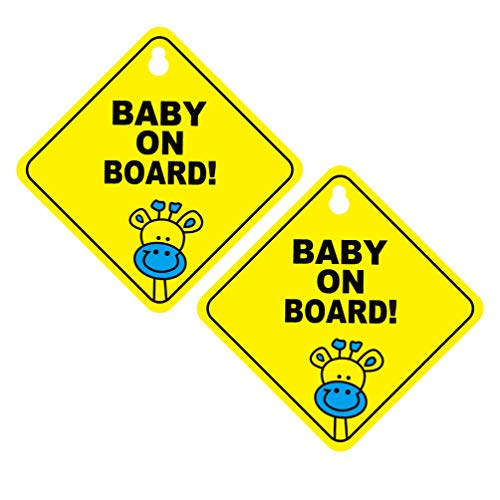 NUOBESTY Baby an Bord Zeichen (2er Pack) - abnehmbare Saugnapf Auto Zeichen Baby Sicherheit Warnung Sauger Aufkleber