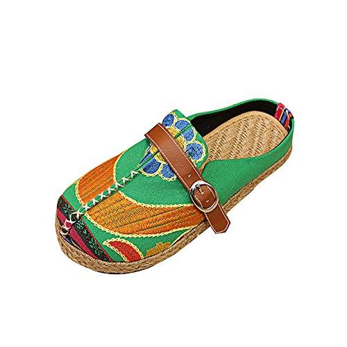 Verano Chancletas Mujeres Sandalias Y Chanclas,Winwintom Zapatillas De Estar por Casa,Sandalias Mules para Mujeres Zapatos De Playa Coloridos Bordados Ocio Al Aire Libre