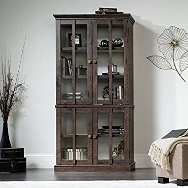 Sauder 419065 Tall Display Cabinet, Coffee Oak Finish