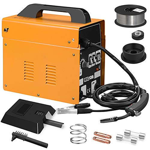 Welding Machine,130 MIG Flux Core Wire Automatic Feed Welding Machine Strong for Home DIY Repairing Use Welding Rod Equipment Tools Accessorie (Yellow)