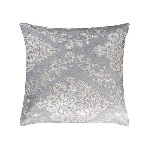 SaRani - Par de fundas de cojín de fantasía floral gris con cremallera para sofá, decoración del hogar, 40 x 40 cm