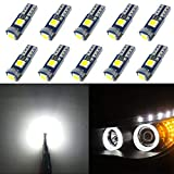 WLJH 10pcs PC74 T5 Canbus sin Error LED Libre Bombillas 2721 73 37 Blanco Puro LED Ojos de Angel Anillo de Halo Bulbos de Marcador
