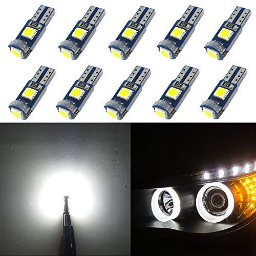 WLJH 10pcs PC74 T5 Canbus sin Error LED Libre Bombillas 2721 73 37 Blanco Puro LED Ojos de Angel Anillo de Halo Bulbos de Marcador