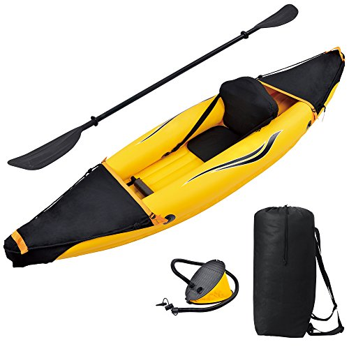 Blue Wave Sports Nomad 1 Person Inflatable Kayak, Gold/Black
