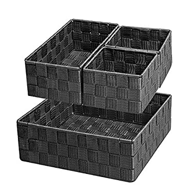 Posprica Woven Storage Box Cube Basket Bin Container Tote Organizer Divider for Drawer,Closet,Shelf, Dresser,Set of 4 (Black)