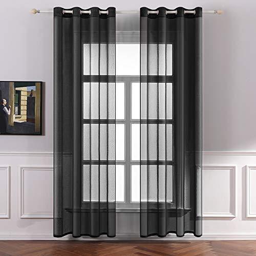 MIULEE 2er Set Sheer Voile Vorhang mit Ösen Transparente Gardine aus Voile Polyester Ösenschal Transparent Wohnzimmer Luftig Dekoschal für Schlafzimmer 140 X 245 cm (B x H), Grommet Top Schwarz