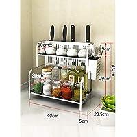 調味料棚収納ラック 2層 カウンタ スパイスラック 収納棚 キッチンラック 多機能 整理ラック 省スペース 簡単組立 ステンレス (Size : Length 40cm)