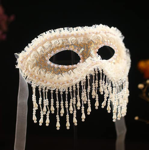 WOFEI Máscara De Mascarada para Mujer Sexy Princesa Retro Antifaz De Lentejuelas De Encaje Beige con Flecos Cena Banquete Moda Fiesta De Adultos