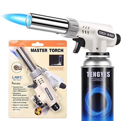 Kitchen Butane Blow Torch Lighter  Culinary Torch Chef Cooking Torches Professional Adjustable Flame with Reverse Use for Creme Brulee BBQ Baking Jewelry by TENGYES Butane Not Included
