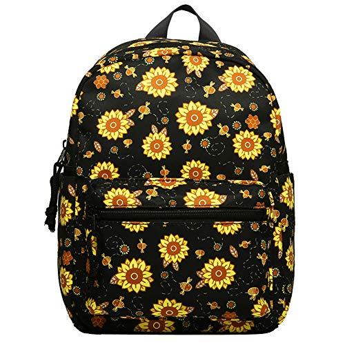 Choco Mocha Sunflower Mini Backpack for Girls Teens Small Backpack Purse for Little Girls Tiny Backpacks kids Mini Back Packs Cute Birthday Gifts, Black Sunflowers