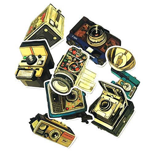 9pcs Nostalgic Camera Cool Graffiti Sticker Suitcase Trolley Case Waterproof Retro Camera Vintage Gramophone DIY Style Sticker