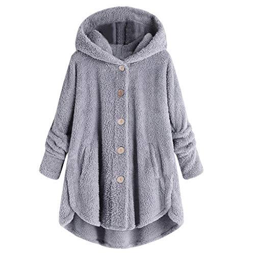ZuzongYr Damen's Sweatshirts Damen Kapuzenpullover Knopf Mantel Flaumiger Endstück Oberseiten mit Kapuze Trenchcoat Verdicken Pullover Lose Strickjacke Plüsch Outwear(XL,Gray)