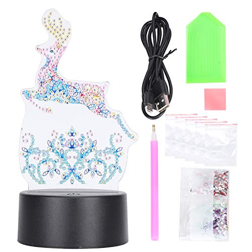 Deer Full Drill Diamond Painting Tools Diamond Painting Kit LED Night Light, for Children, Teenagers and Adults for Enhancing Your Hands on Ability