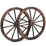 Giantex 30-Inch Set of Two Decorative Wooden Wheel, Decorative Wall Old Western Style Wooden Garden Wagon Wheel with Steel Rim, Fir Treated by Carbonization, Suitable for Bar, Studio and Home (30'')