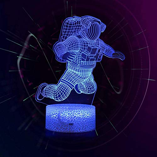 Astronaut 3D Illusion Lamp 16 Colour Changing Acrylic LED Night Light with,Art Sculpture Lights Room Home Decoration,USB Charger, Pretty Cool Toys Gifts Ideas Birthday Holiday Xmas for Baby