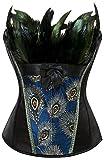 EUDOLAH Mujer Corsé de Plumas de Pavo Real Vintage Gótico Bustier con Falda(Negro,3XL)