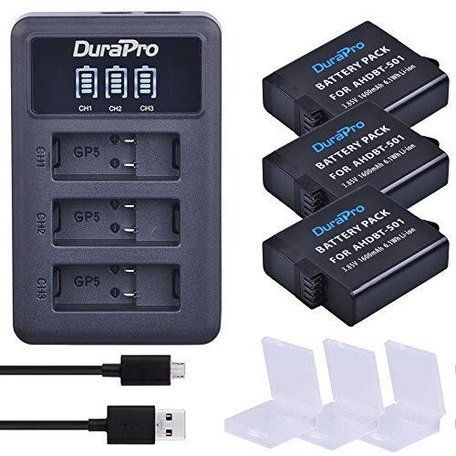 DuraPro 3Pcs 1600mAh Akku für Gopro Hero 5/6 Gopro 2018 Gopro 7 Kamera-Akkus + Rapid LED 3-Slots USB-Ladegerät mit Typ C-Anschluss (kompatibel mit Hero5 All Firmwares v02.00, v02.01)