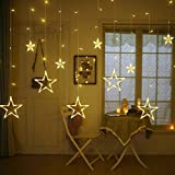 Intensity of the curtain lights depend on the electricity given to the curtain light. For perfect look of the curtain light. Size: 6.6ft×3.3ft Plug wire to the controller: 6 Small star diameter/length: 0.3ft/2ft & 6Big star diameter/length: 0.67ft/3f...