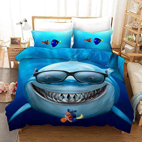 Duvet Cover Set Double Bed Size 200x200 cm Finding Nemo 3 pcs Bedding Sets with Zipper Closure 1 Microfiber Quilt Cover and 2 Pieces Pillowcases 50x75 cm Ultra Soft Hypoallergenic