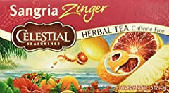 Six 20-count boxes of Sangria Zinger Herbal tea bags Blended with citrus and hibiscus for tart flavor Caffeine and gluten-free No artificial flavors, colors or artificial preservatives Steep in hot water for 4-6 minutes for the perfect cup