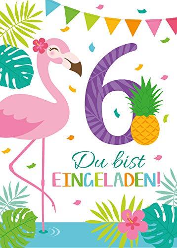 Junaversum 12 Einladungskarten zum 6. Kindergeburtstag Mädchen Flamingo Einladungen sechste Geburtstag Kinder