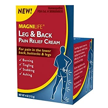 MagniLife Leg & Back Pain Relief Cream Fast-Acting Sciatica Pain Relief Naturally Soothe Burning Tingling and Stabbing Pains with Aloe and Calendula - 4oz