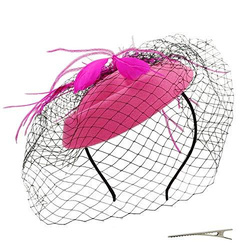 Umeepar - Tocado para pastillero para mujer, para boda, Kentucky Derby, para fiestas de té, con plumas, con velo Rosa rosa (b) Talla única