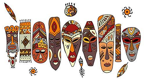 dekodino® Wandtattoo Afrika Masken in bunten Farben Wandsticker Deko