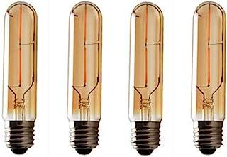 JKLcom Vintage Edison LED Bulb 4 Pack,T10/T30 LED Bulbs 2W Antique COB Tubular Filament LED Bulb Tubular Edison Style LED Filament Bulb T10,Dimmable,E27 Medium Base,Warm White 2300K,Amber Glass Cover