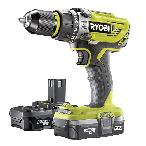 Ryobi R18PD31-213S One Plus Cordless Compact Percussion Drill Starter Kit, 18 V, Hyper Green