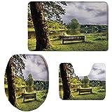 c-sky 3er-Pack Badematten-Set, Sitzbank mit Blick auf den See bei Stourhead Countryside Cloudy Day Landscape