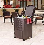 Suncast Resin 77 Quart Wicker-Look Outdoor Patio Cooler with Wheels, Java