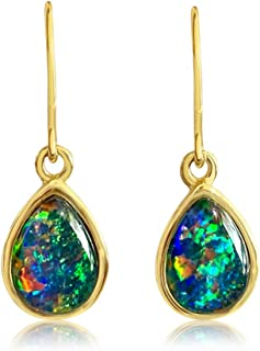 Australian Opal triplet 10x8mm teardrop Silver bezel set dangling earrings