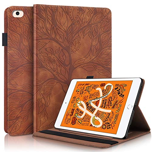 PC Tablet Case for Apple iPad Mini 5/4 / 3/2 / 1 Leather Pattern Design Life Tree Smart Case Protective Cover - Brown