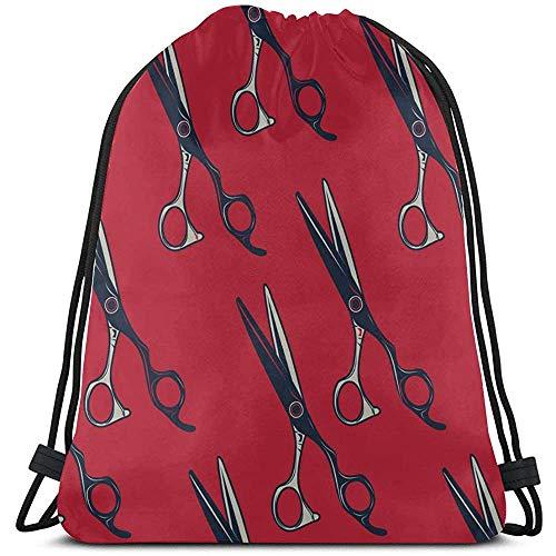 Bouia Cartoon Retro kapper schaar string rugzak polyester trekkoord schoudertas drawtassen voor reizen in de sportschool