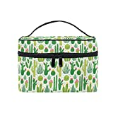 HaJie - Bolsa de maquillaje de gran capacidad, organizador de hojas de árbol tropical, cactus, flores, viaje, neceser, bolsa de almacenamiento, bolsa de lavado para mujeres y niñas