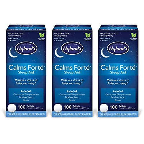 Natural Sleep Aid Pills, Calms Forte by Hyland's, Insomnia and Stress Relief Supplement, 100 Quick-Dissolving Tablets (Pack of 3)