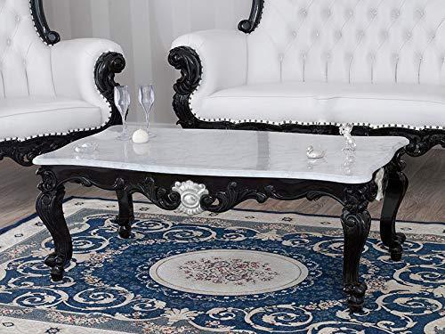 SIMONE GUARRACINO LUXURY DESIGN Table Basse de Salon Regina Style Baroque Dark Noir laqué, Particulier Feuille Argent, marbre Blanc Carrara