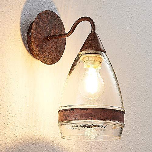 Lindby Wandleuchte, Wandlampe Innen 'Millina' dimmbar (Retro, Vintage, Antik) in Braun aus Glas u.a. für Schlafzimmer (1 flammig, E27, A++) - Wandstrahler, Wandbeleuchtung/Wohnzimmer