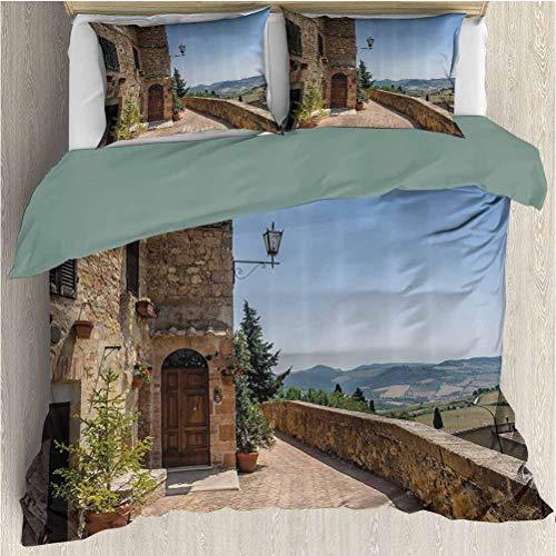 Italian Decor Bedding 3-Piece Full Bed Sheets Set, Ultra Soft Microfiber Bedding (1 Duvet Cover + 2 Pillowcases) Light Brown Green Light Blue
