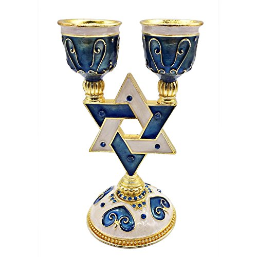 Housewares Collection Gorgeous Blue Star of David Shabbat Candle Holder Gold Accents Embellished with Genuine Crystals Comes in a Beautiful Gift Box