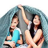 Quility Premium Kids Weighted Blanket & Removable Cover | 5 lbs | 36'x48' | for a Child Between 40-70 lbs | Single Size Bed | Premium Glass Beads | Cotton/Minky | Grey/Aqua Color