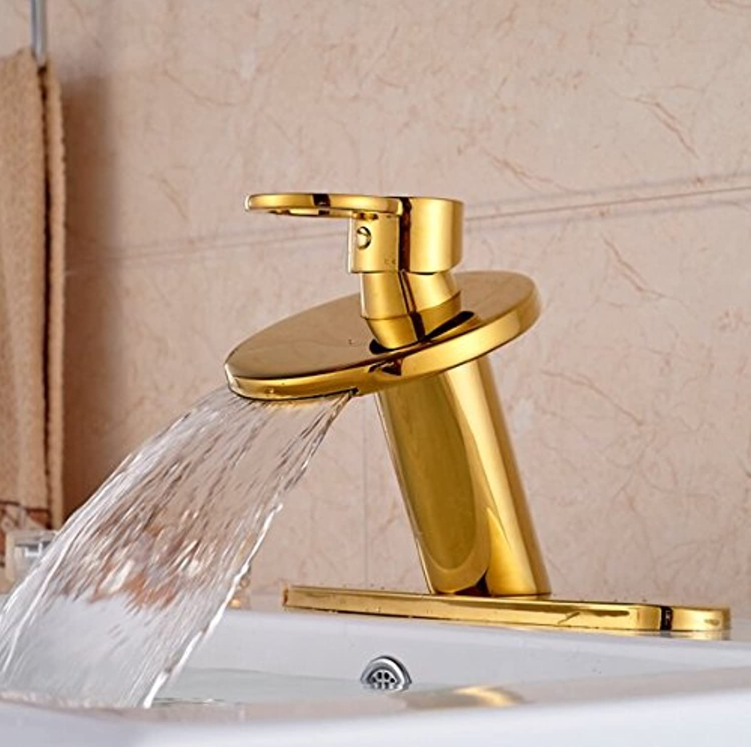 GOWE Brass golden Deck Mount Waterfall Bathroom Sink Basin Faucet Single Lever with 3 Hole Cover Plate