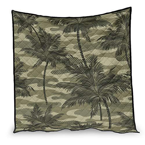 Manta vintage de bosque conchado y hojas de camuflaje, regalo para sofá cama blanco 5 230 x 280 cm