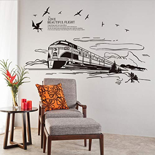 Etiqueta de la pared del tren grande de color negro 90X140Cm