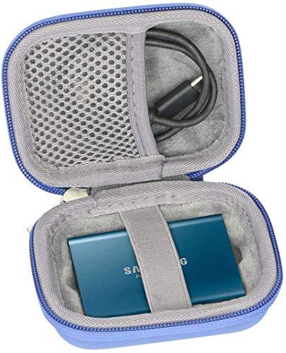 co2CREA Duro Viajar caja estuche funda para Samsung T3/T5 250GB 500GB 1TB 2TB Disco Estado Sólido SSD Externo(caja solo)(Azul)
