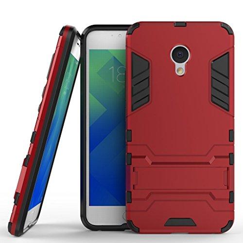 Ougger Handyhülle für Meizu M5 Hülle Schale Tasche, Extreme Schutz Schon [Kickstand] Leicht Armor Hülle Schutz SchutzHülle Hülle Hart PC + Soft TPU Gummi Haut 2in1 Back Gear Rear Rot