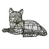 Gartenfigur liegende Katze Draht-Figur für Moos